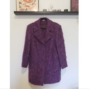 Vintage 90s y2k Purple Mohair Blend Fuzzy Coat